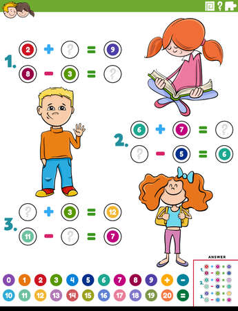 Cartoon illustration of educational mathematical addition and subtraction puzzle task with children characters Ilustración de vector