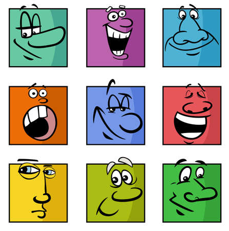 Cartoon illustration of funny comics faces or emotions colorful set