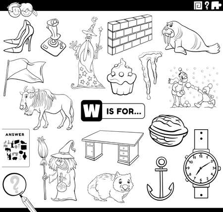 Black and white cartoon illustration of finding pictures starting with letter W educational task worksheet for children with objects and comic characters coloring book page Vektoros illusztráció