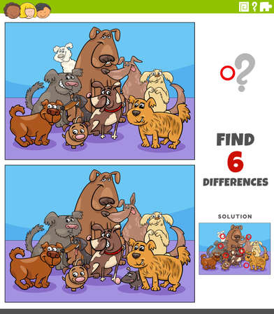 Cartoon illustration of finding the differences between pictures educational game with comic dogs animal characters group Ilustración de vector