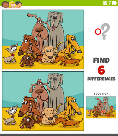 Cartoon illustration of finding the differences between pictures educational game for kids with dogs animal characters group