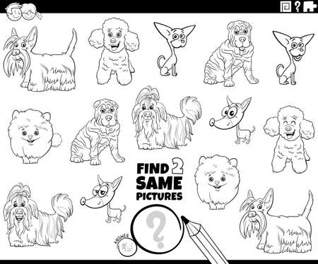 Black and white cartoon illustration of finding two same pictures educational game with funny purebred dogs animal characters coloring book page