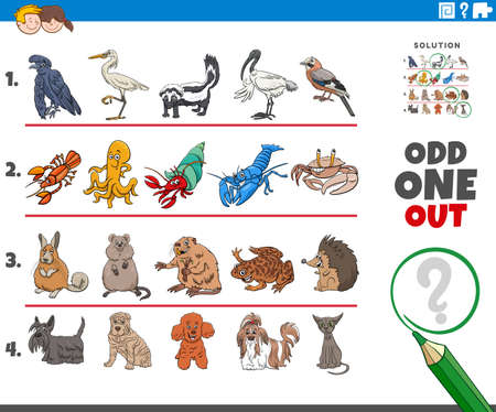 Cartoon illustration of odd one out picture in a row educational task for elementary age or preschool children with comic animal characters