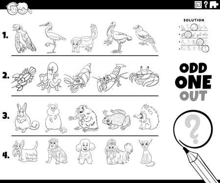 Black and white cartoon illustration of odd one out picture in a row educational task for elementary age or preschool children with comic animal characters coloring book page Ilustración de vector