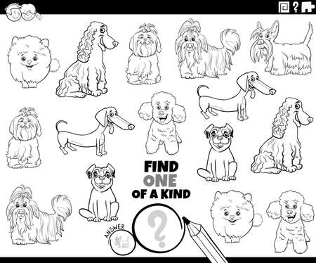 Black and white cartoon illustration of find one of a kind picture educational game with funny purebred dogs animal characters coloring book page Ilustración de vector