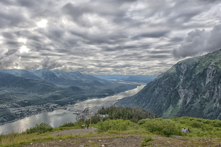 Juneau aerial view in cludy sky background photo