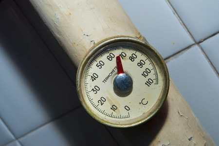 humidity gauge: Vintage thermometer celsius Stock Photo