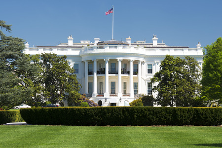 washington landscape: White House on deep blue sky background