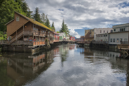 forest river: Ketchikan, Alaska, picturesque town view