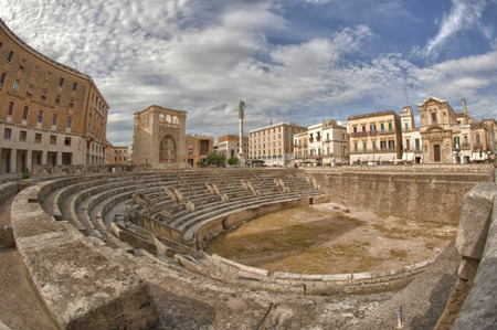Amphiteater of Lecce Town, Italy Imagens