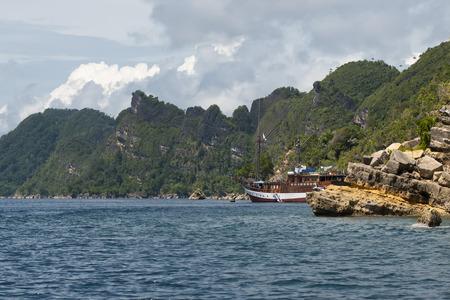 A sail boat in Raja Ampat Papua