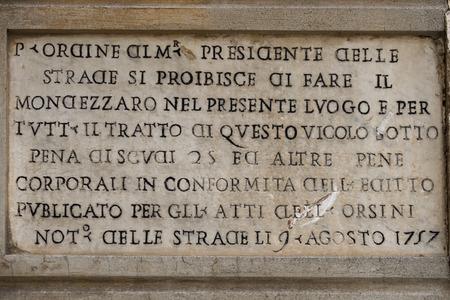 edicto: Roma inscripción de mármol orden edicto 1757