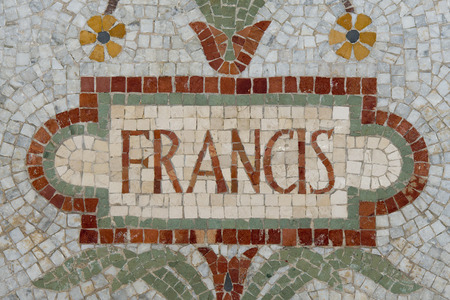 Pope Francis name in red mosaic patchwork