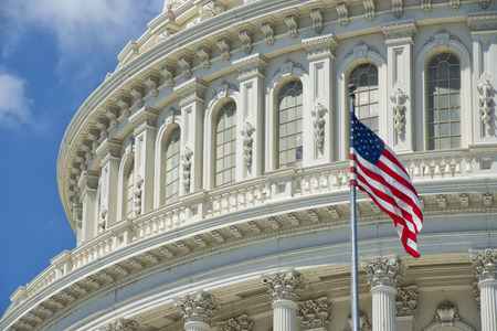 Washington DC Capital detail with american flag photo