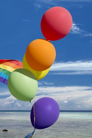 peace flag: peace flag balloons on tropical paradise  background