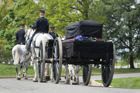 national military cemetery: US Army marine funeral coffin on the horse coach