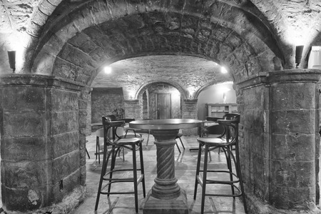 Old Stone house interior view in black and white