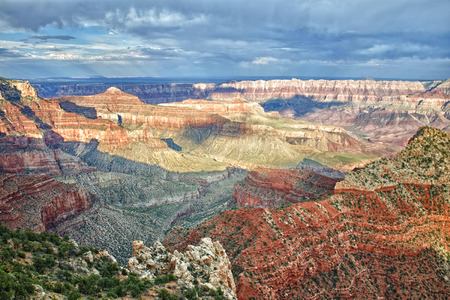 Grand Canyon landscape from north rim on cloudy sky background photo