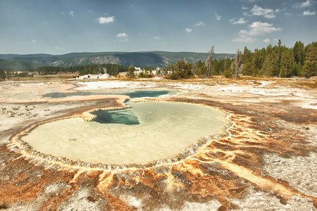the faithful: Yellowstone Natural Texture Geyser Old Faithful Stock Photo