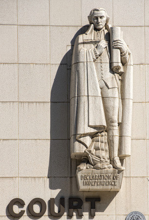 superiors: los angeles superior court building and statues detail
