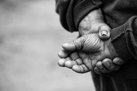 man alone: Farmers Hands of old man who worked hard in his life