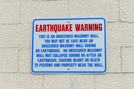 Earthquake Warning Wall Sign in Anchorage, Alaska USA photo