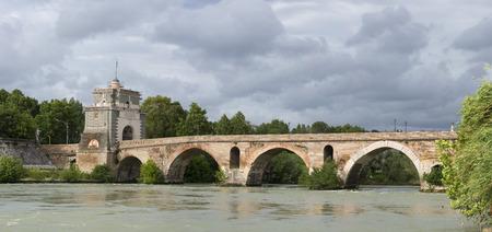 constantin: Rome Milvio bridge view Stock Photo