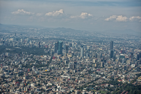 mexico city aerial view landscape from airplane photo