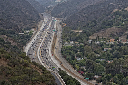 los angeles congested highway aerial view photo