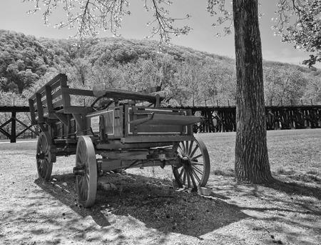 lejos: Viejo Far West Band Wagon en blanco y negro