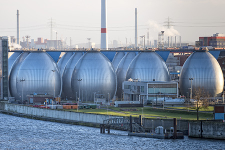Desalination plant in hamburg harbor metallic eggs Editorial