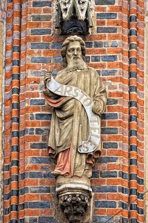 aristotle statue on bremen city hall Imagens - 35354262