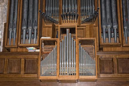 pipe organ: antique church pipe organ detail Stock Photo