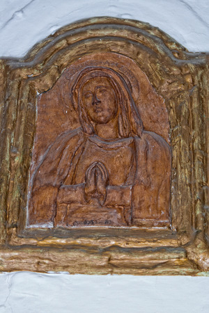 bas relief: mary medieval bas relief terracotta