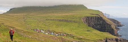 danmark: Faer Oer Danmark Mykines Village Island Cliffs Panorama