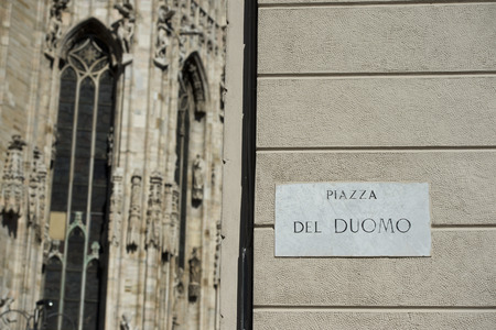 Milan Dome gothic Cathedral piazza del duomo sign photo