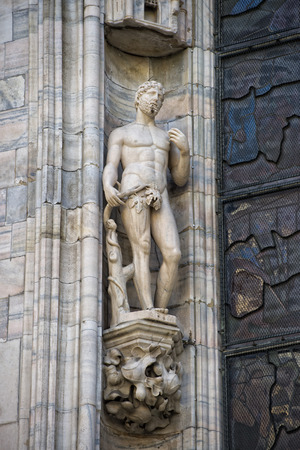 Milan Dome gothic Cathedral ADAM statue detail photo