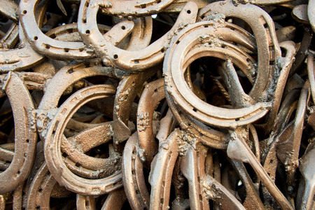 Welded: metal welded horseshoes close up Stock Photo
