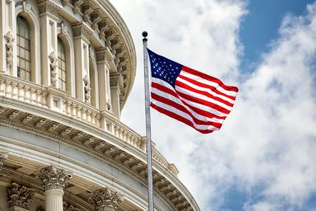 アメリカの国旗を振ってワシントン DC の国会議事堂のドーム詳細
