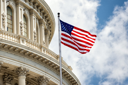 Washington DC Capitol dome detail with waving american flag Stock Photo