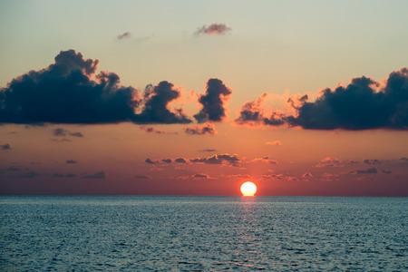 maldives island: wonderful golden sunset in maldives island