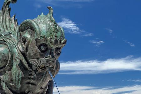 sea creature: Sea creature shape fountain copper bronze statue in Florence