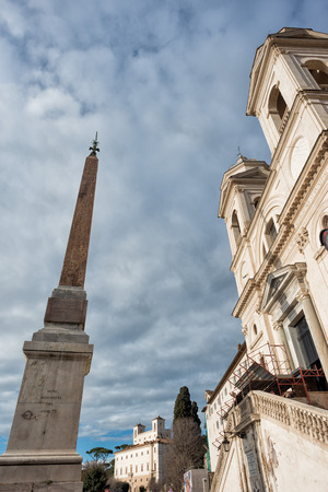 trinita: Rome trinita dei monti church and obelisk view Stock Photo