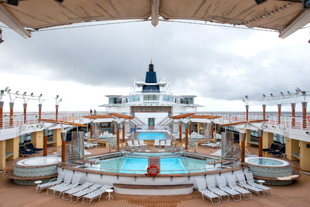 Alaska cruise ship deck on cloudy day