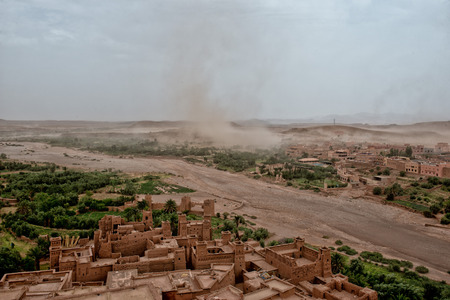 storm coming: A sand storm coming to Ait Benhaddou Maroc location of gladiator movie