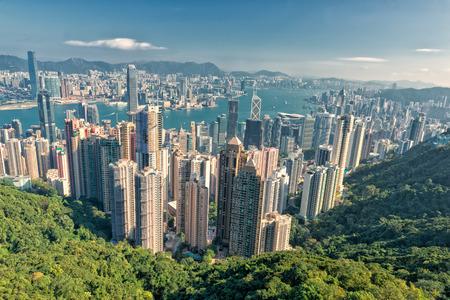 피크에서 홍콩 파노라마보기 스톡 콘텐츠