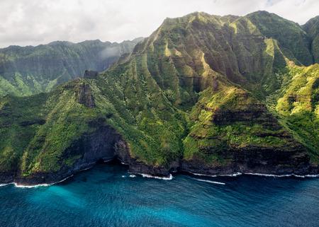 na: kauai napali coast aerial view from helicopter Stock Photo