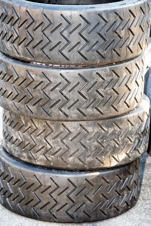 indy: rally Racing car tire close up Stock Photo
