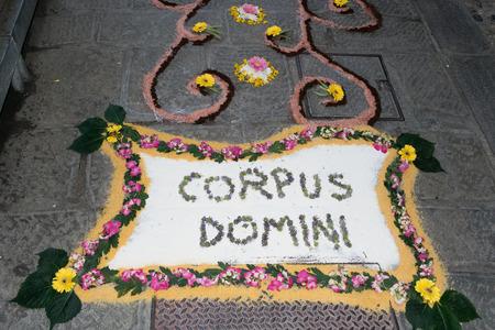 corpus: infiorata corpus christ religious celebration flower street in italian village Stock Photo