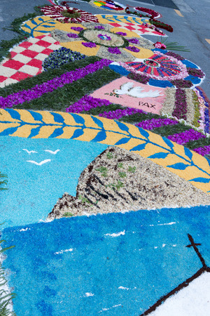 religious celebration: infiorata corpus christ religious celebration flower street in italian village Stock Photo